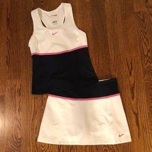 Nike White/Navy/Pink Tank & Skirt Set
